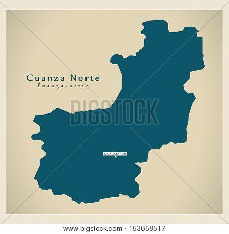Modern Map - Cuanza Norte AO Angola vector