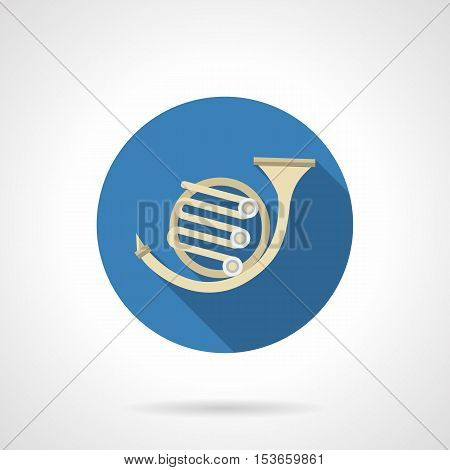 Abstract sign of coach horn or french horn. Brass musical instrument bass-tenor register. Round blue flat design vector icon.