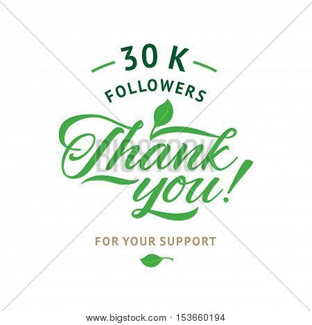Thank you 30 000 followers card. Vector ecology design template for network friends and followers. Image for Social Networks. Web user celebrates a large number of subscribers or followers.