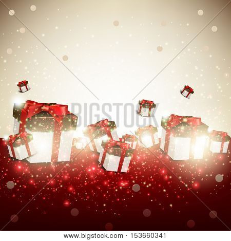 Elegant background with gifts. Vector illustration