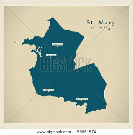 Modern Map - St. Mary AG Antigua and Barbuda vector