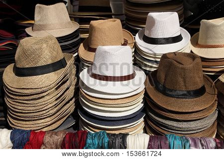 Women's summer hats and scarves at the street market