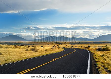 Beautiful Endless Wavy Road In Arizona Desert