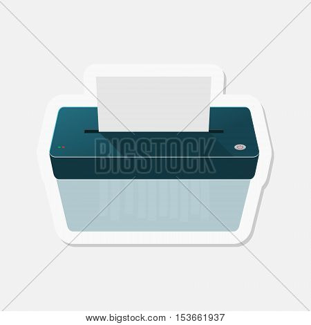 Paper Shredder sticker on gray background, vector