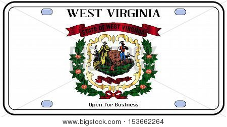 West Virginia license plate in the colors of the state flag with the flag icons over a white background