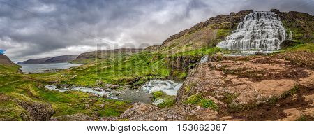 Panorama of waterfall Dynjandi in Iceland in summer