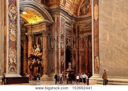 Rome Italy - APRIL 10 2016: Interior of St. Peter's Basilica. St. Peter's Basilica is one of the main tourist attractions of Rome.