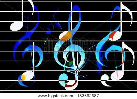 color music notes with clef and black background. Music concept