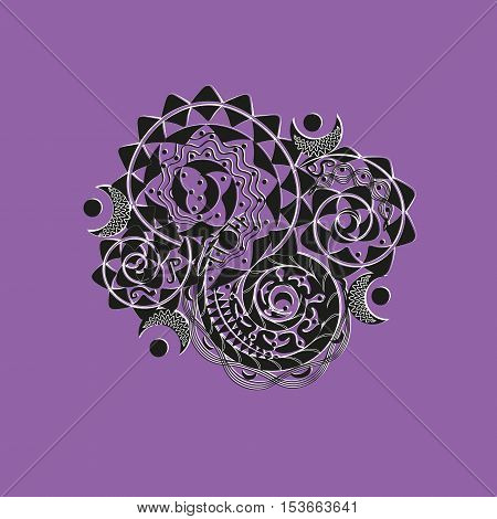 Ornament black and white logo or tattoo Handmade author of design for the body or texture print tehugolnik point curl moon original projects circle lines violet background vector illustration eps10 stock