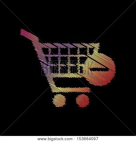 Vector Shopping Cart With Remove Sign. Coloful Chalk Effect On Black Backgound.