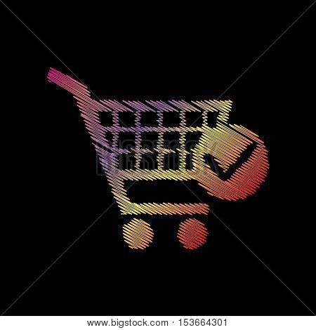 Shopping Cart With Check Mark Sign. Coloful Chalk Effect On Black Backgound.