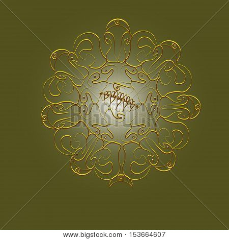 Pattern yellow sun tattoo or logo Abstract author idea handmade rays ethno pattern curls ornamental point, the lattice of metal petals folk picture eps10 vector illustration Stock
