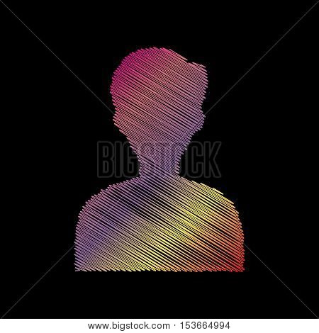 User Avatar Illustration. Anonymous Sign. Coloful Chalk Effect On Black Backgound.