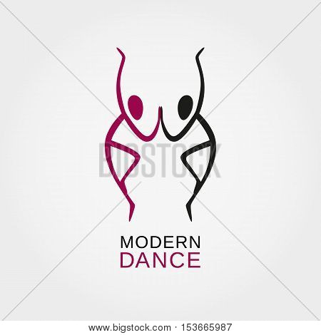 Dance icon concept. Character logo. Modern ballet studio design template. Fitness class banner background with symbol of abstract people ballerina in dancing poses. Vector illustration.