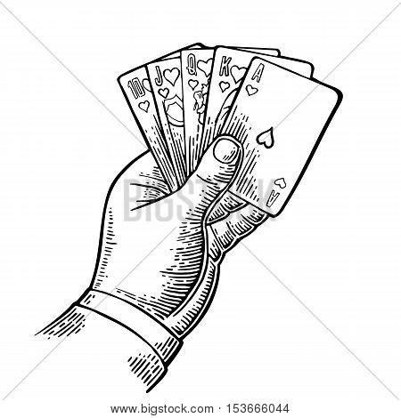 Royal flush in hearts. Male hand holding a game card. Vector black vintage engraving illustration for poster label banner web. Isolated on white background