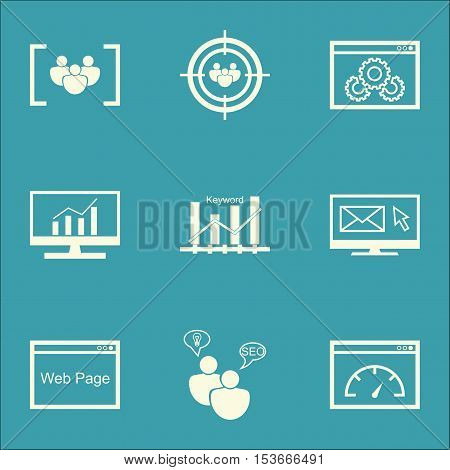 Set Of Advertising Icons On Website Performance, Newsletter And Seo Brainstorm Topics. Editable Vect