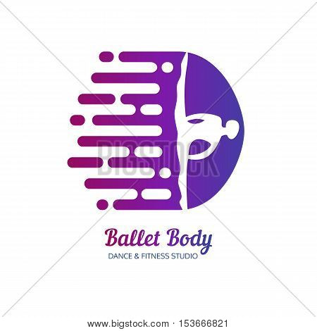 Dance icon concept. Ballet Body studio signboard card design template. People character logo. Fitness center class banner background symbol abstract ballerina in dancing pose. Vector illustration.
