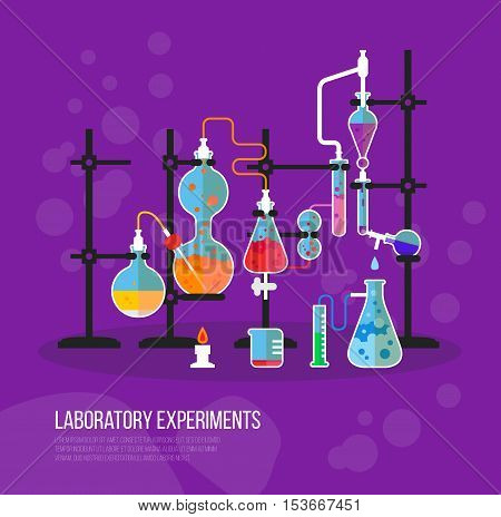Experiment chemistry glassware flask with tubes. Bottle with liquid for laboratory or lab chemical experiment at school or medical analysis.