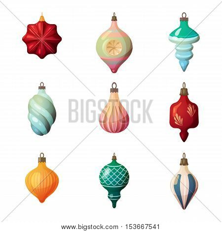 new year fir-tree glass different shape baubles.