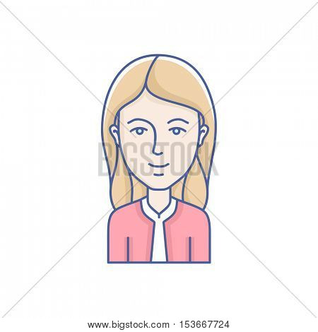 Woman face expression avatar icon. Vector linear girl avatars