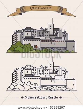 Hohensalzburg old castle in Austria, Salzburg. Exterior view of palace architecture or retro building on mountain. May be used for baroque landmark or heraldic historical book, vintage monument badge