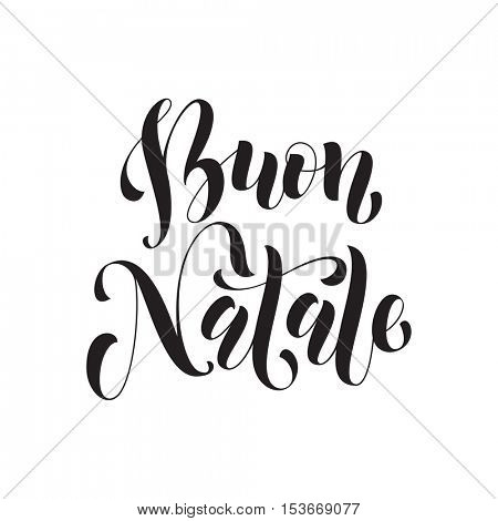 Buon Natale Italian vector greeting card print. Ink Merry Christmas in Italy congratulation letter board poster with polka dot background