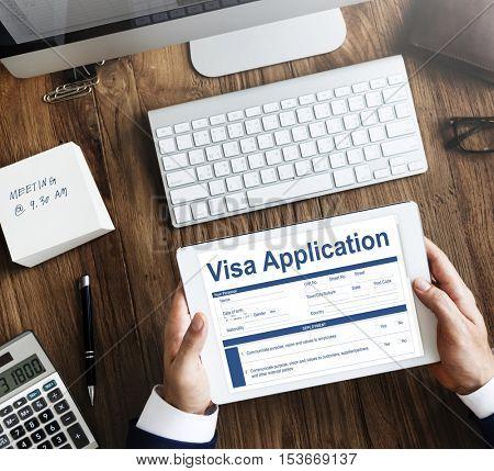 Visa Application Form Documents Concept