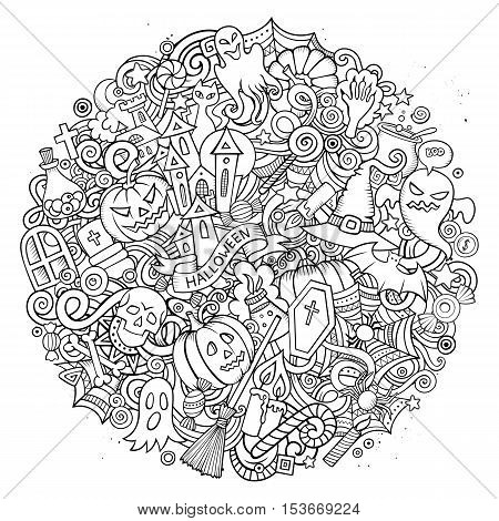 Cartoon vector hand drawn Doodle Halloween circle illustration. Colorful round detailed design background with objects and symbols. All objects are separated. Amazing bright colors.