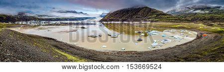 Panorama Of Stunning Vatnajokull Glacier And Lake In Iceland
