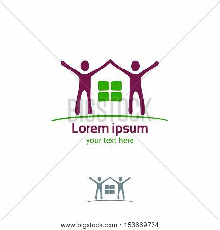 Silhouette Of The House And Joyful People Vector Logo Template. House And People Vector Icon. House