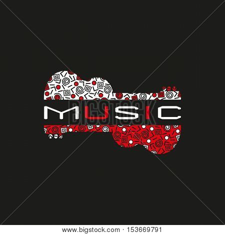 Template Design Poster with doodle acoustic guitar silhouette. Vintage music icon. Black red white musical instrument logo in Swiss international style. Modern Memphis pattern. Vector illustration