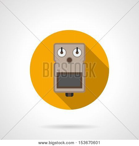Stompbox or pedal effects for guitar. Professional musical equipment for concerts, music band, record studio and others. Round yellow flat design vector icon.