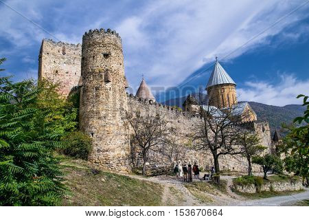 Ananuri castle complex on the Aragvi River in Georgia. Europe. Ananuri Castle is located about 70 kilometres from Tbilisi.