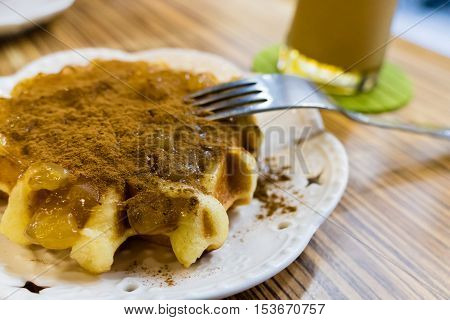 Fresh Belgian Liege Waffle With Apple And Cinammon