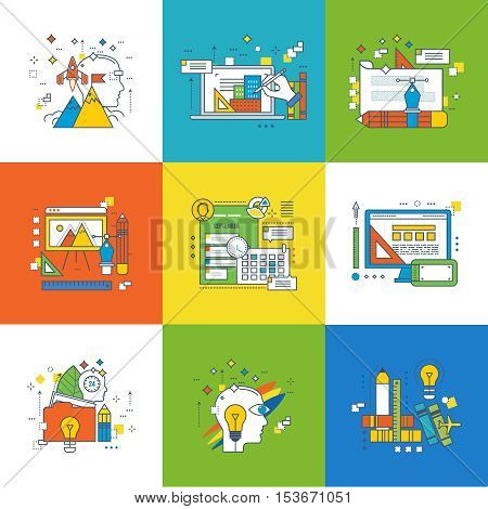 Concept of creativity and creativity tools, creative process, project management, wallet payment methods, design training, graphic design and web design, start-up, education. Vector illustration.