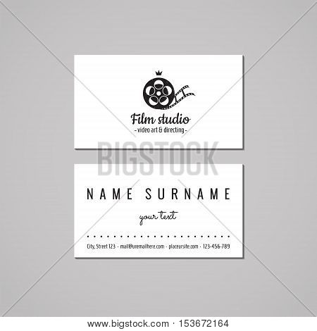 Film movie and video business card design concept. Logo with film tape (film reel) and crown. Vintage hipster and retro style.