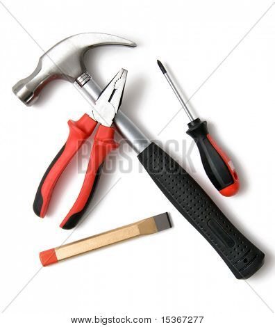 Set of construction tools. On white.