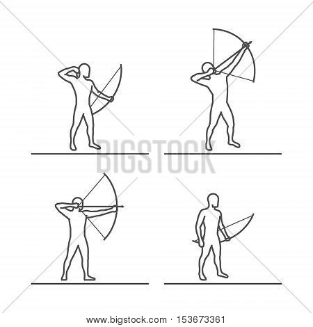 Line silhouettes of archer. Vector set of linear archer figures.