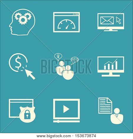 Set Of Advertising Icons On Ppc, Market Research And Video Player Topics. Editable Vector Illustrati