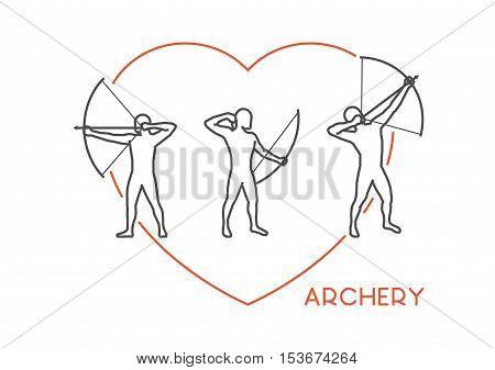 Line vector logo for archery. Open path. Outline figure archer.