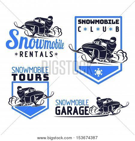 snowmobile logo snow mobile vector qality illustration set