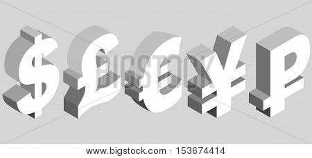 Isometric set of currency symbols of the world - dollar pound sterling euro yen ruble on gray background. Vector 3d illustration.