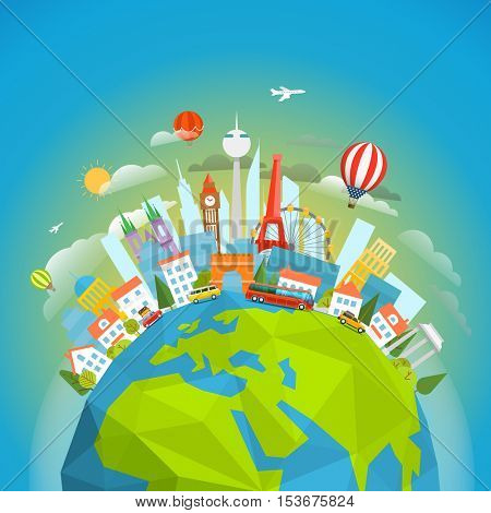 Famous signts around the world. Travel concept vector illustration. Around the 