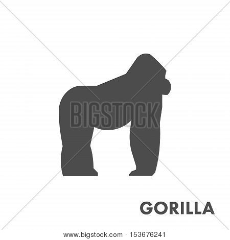 Black vector figure of gorilla. Vector african animals for web and design.
