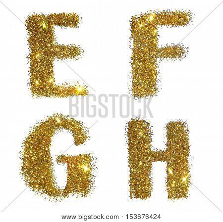 Letters E, F, G, H of golden glitter sparkle on white background