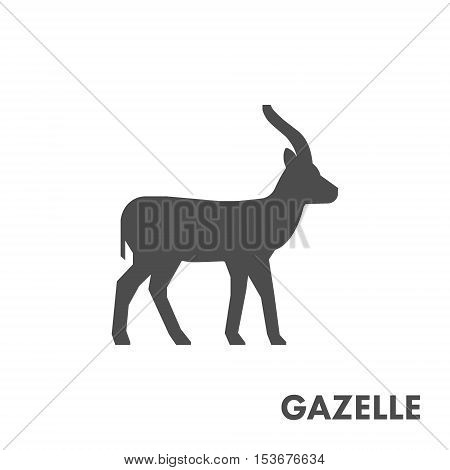Black vector figure of gazelle. Vector african animal for web and design.