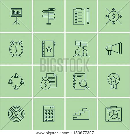 Set Of Project Management Icons On Investment, Warranty And Present Badge Topics. Editable Vector Il