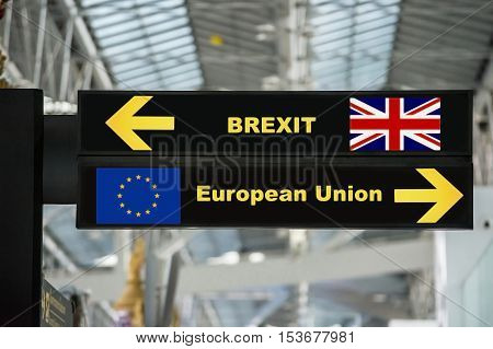 Brexit or british exit on airport sign board with blurred background. Brexit concept.
