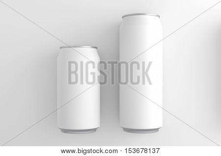 White cans 330 and 500 ml. 3D illustration