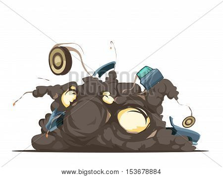 Remote controle car bom explosion  detonation moment with flying debris at blast site retro cartoon poster vector illustration